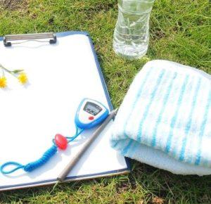 タオルと水とスケジール表